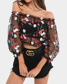 Yoins Black Floral Embroidery Mesh Crop Top