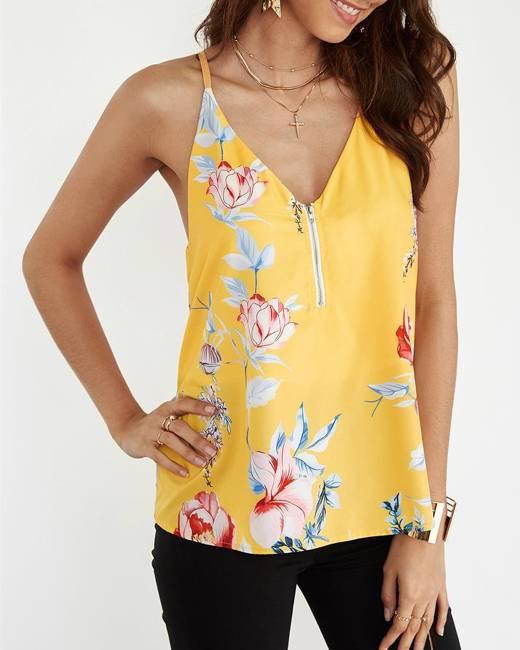 Yellow Random Floral Print V neck Cami Top with Zipper Design