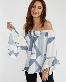 Yoins White Floral Print Off The Shoulder Flared Sleeves Blouse