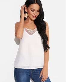 Yoins White Lace Trim Adjustable Shoulder Strap V-neck Sleeveless Camis