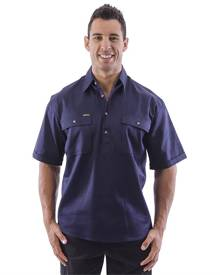 Bisley Closed Front Mens Cotton Drill SS Shirt