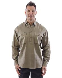 Bisley Closed Front Mens Cotton Drill LS Shirt