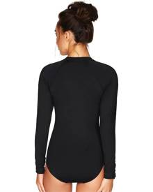 Sea Level (Nip Tuck) Sea Level Essentials Long Sleeve B-DD Cup One Piece Swimsuit - Black, Size 10