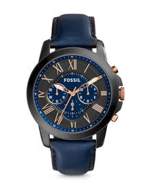 Fossil MEN Grant Chronograph Navy Leather Watch