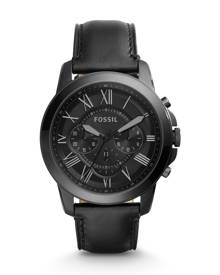 Fossil MEN Grant Chronograph Black Leather Watch