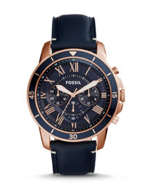 Fossil MEN Grant Sport Chronograph Blue Leather Watch