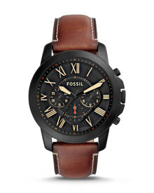 Fossil MEN Grant Chronograph Luggage Leather Watch