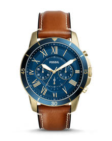 Fossil MEN Grant Sport Chronograph Luggage Leather Watch