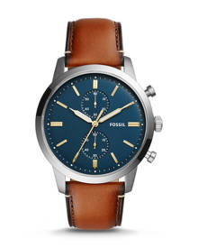 Fossil MEN Townsman 44mm Chronograph Luggage Leather Watch