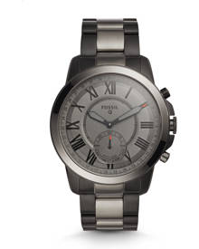 Fossil WOMEN Hybrid Smartwatch - Q Grant Smoke-Tone Stainless Steel