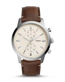 Fossil MEN Townsman 44 mm Chronograph Brown Leather Watch