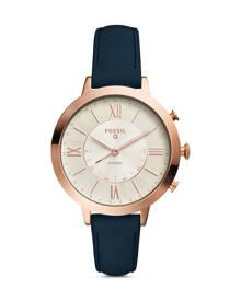 Fossil WOMEN Hybrid Smartwatch – Q Jacqueline Navy Leather
