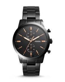 Fossil MEN Townsman 44 mm Chronograph Black Stainless Steel Watch
