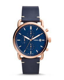Fossil MEN The Commuter Chronograph Navy Leather Watch
