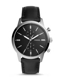 Fossil MEN 44mm Townsman Chronograph Black Leather Watch