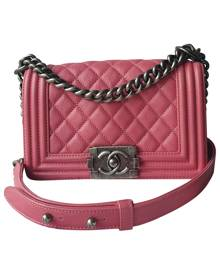 Chanel Boy Pink Leather Handbag for Women