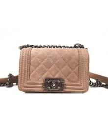 Chanel Boy Pink Suede Handbag for Women