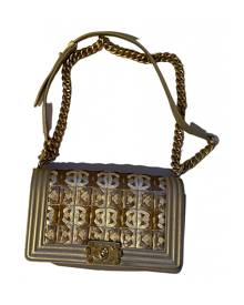 Chanel Boy Gold Leather Handbag for Women