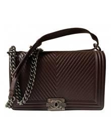 Chanel Boy Burgundy Leather Handbag for Women