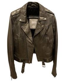 Blk Dnm \N Metallic Leather Jacket for Women