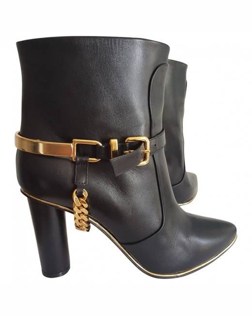 Balmain Leather buckled boots