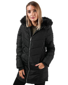 Womens Elle Sabine Hooded Jacket With Faux Fur Trim In Dark Khaki