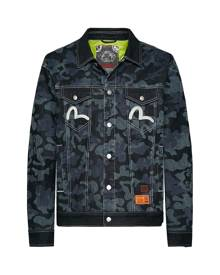 Evisu Discharged Camouflage Padded Denim Trucker Jacket