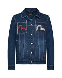 Evisu Denim Trucker Jacket With Multi-pockets And Seagull Embroidery