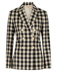 Tory Burch Gingham Double-breasted Linen Blazer