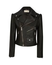 MICHAEL Michael Kors Pebbled Leather Puff-sleeve Moto Jacket