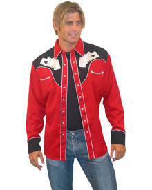 Scully Four Ace Embroidery Shirt - Mens Western Shirt