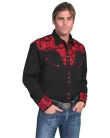 Scully Floral Tooled Embroidery - Mens Shirt