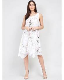 Izabel London Botanical Print Hanky Hem Dress