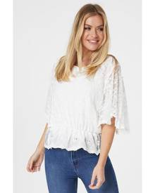 Izabel London 3/4 Batwing Sleeve Sheer Lace Blouse