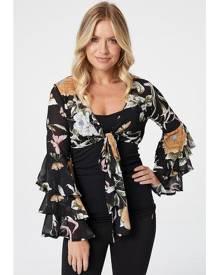 Izabel London Floral Tie Front Crop Top