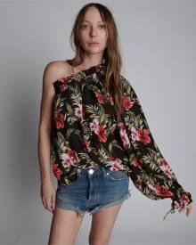 night flower hawaiian one shoulder top
