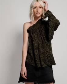 khaki leopard tie dye crepe one shoulder top
