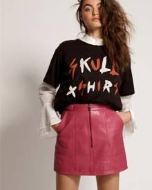 cerise leather biker mini skirt