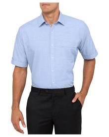 Van Heusen Business Shirts Classic Relaxed Fit Short Sleeve Shirt Royal Blue