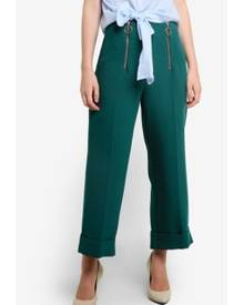 TOPSHOP Double Zip Crop Wide Trousers