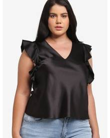 0ed245b788e ZALORA. ELVI Plus Size Black Satin Ruffle Top