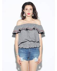 ad9ad1f8c008e Guess Off the Shoulder Embroidery Gingham Top