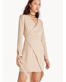 4c963cc5098 ZALORA. Pomelo Mini Long Sleeve Asymmetric Surplice Dress