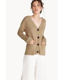 Pomelo Long Knit V-Neck Cardigan - Caramel