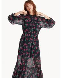 Pomelo Maxi Floral Flounce Button Up Dress - Black