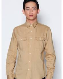 Dockers Khaki Long Sleeve Twill Shirt Cotton Teased Chino