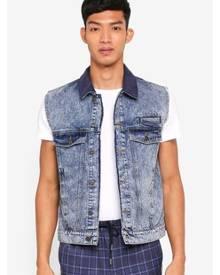 Topman Blue Acid Denim Jacket