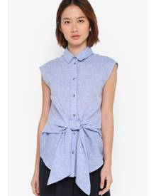 WAREHOUSE Chambray Tie Front Shirt