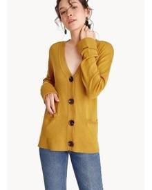 Pomelo Long Knit V-Neck Cardigan - Yellow