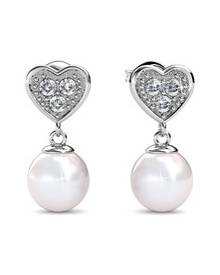 Her Jewellery Pearl Heart Earrings - Embellished with Crystals from Swarovski®